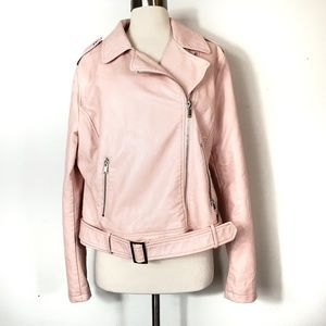 Blush light pink Vegan Faux leather moto jacket